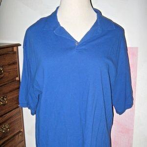 HANES STAY CLEAN Royal Blue Stretch Polo Shirt XL